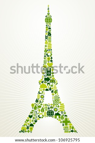 Paris go green. Eco friendly icon set in Eiffel Tower shape illustration background. - stock photo
