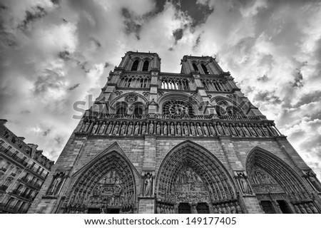 Paris. Gorgeous view of Notre Dame facade - stock photo