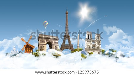 Paris Heaven - photographic composition of famous landmarks of Paris, France - stock photo