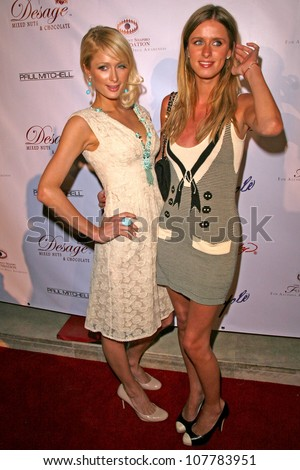 Paris Hilton and Nicky Hilton  at Sober Day USA 2008 Presented by the Brent Shapiro Foundation for Alcohol and Drug Awareness. Private Residence, Beverly Hills, CA. 05-17-08 - stock photo