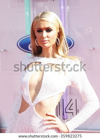 Paris Hilton at the 2014 BET Awards held at the Nokia Theatre L.A. Live in Los Angeles, USA on June 29, 2014.   - stock photo