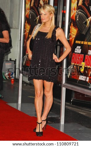 "Paris Hilton at the Los Angeles Premiere of ""Rush Hour 3"". Mann's Chinese Theater, Hollywood, CA. 07-30-07 - stock photo"