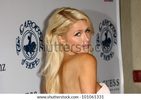 Paris Hilton at the 32nd Anniversary Carousel Of Hope Ball, Beverly Hilton Hotel, Beverly Hills, CA. 10-23-10 - stock photo