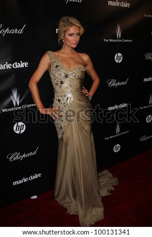 Paris Hilton at the Weinstein Company's 2012 Golden Globe After Party, Beverly Hiltron Hotel, Beverly Hills, CA 01-15-12 - stock photo