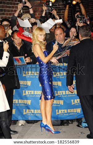 Paris Hilton, in a Tracy Reese dress and Christian Louboutin shoes, at talk show appearance for MON-The Late Show with David Letterman, Ed Sullivan Theater, New York, November 03, 2008
