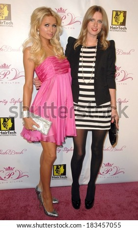 Paris Hilton, Nicky Hilton at a public appearance for Paris Hilton's Beauty Line Launch Party, The Thompson Hotel, Beverly Hills, CA November 17, 2009  - stock photo