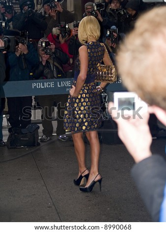 Paris Hilton outside the Ed Sullivan Paris Hilton outside the Ed Sullivan Theater before a taping of the David Letterman Show on January 29th, 2008. - stock photo