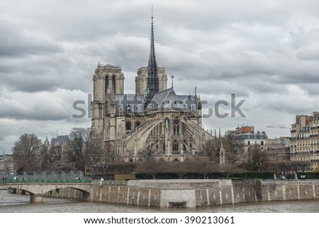 PARIS - JAN 23: view of Paris city center on January 23, 2015 in Paris, France. In year 2014 more than 15 million tourists visited the city of Paris.  - stock photo