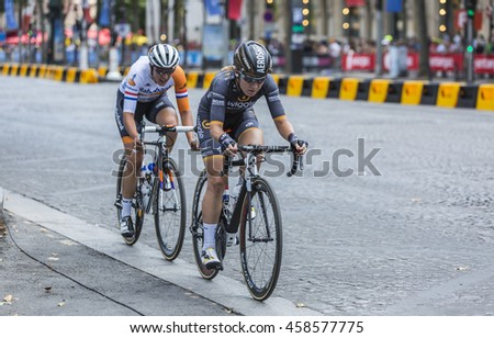 PARIS-JUL 24: Amy Pieters of  Wiggle High5 Team and Lucinda Brand of Raboliv Women Cycling Team, riding on Champs Elysees in Paris during the second edition of La Course by Le Tour de France 2016.
