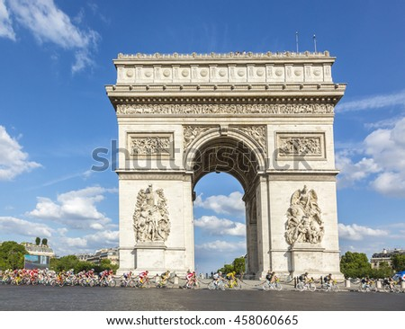 PARIS-JUL 24: ChrissFroome of Team Sky wearing the Yellow Jersey passing by the Arch de Triomphe on Champs Elysees in Paris during the latest stage of Tour de France 2016.
