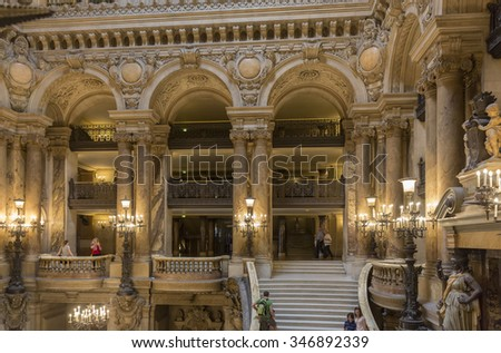 PARIS - JULY 30 : An interior view of Opera de Paris, Palais Garnier, is shown on July 30, 2014 in Paris. It was built from 1861 to 1875 for the Paris Opera house.