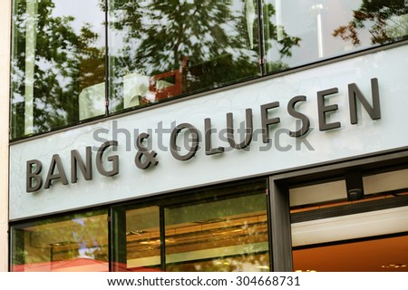 PARIS - JULY 13: Bang & Olufsen store on Champs Elysees in Paris,  July 13, 2012.  Bang & Olufsen develops and produces high quality and high end audio devices - stock photo