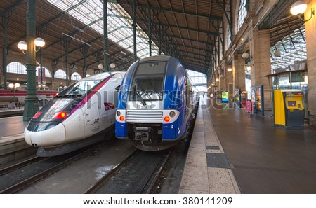 PARIS - JULY 19: French THALYS-train at Paris North Railway Station on July 19, 2015 in Paris, France. THALYS is France's flagship high speed train with possible maximum speed of over 400 km per hour.