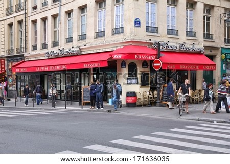 PARIS - JULY 20: La Pause Beaurbourg cafe on July 20, 2011 in Paris, France. La Pause Beaurbourg cafe is a typical establishment for Paris, one of largest metropolitan areas in Europe. - stock photo
