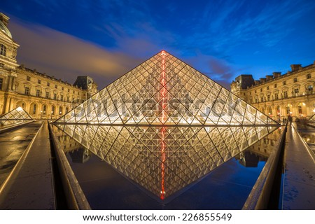 PARIS -JULY 9, 2014 Louvre museum at twilight in summer JULY 9 2014  in Paris, France. Louvre Museum is one of the world's largest museums, every year museum visits more than 8 million visitors. - stock photo