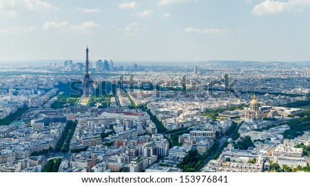 PARIS - 19 July 2013: The Eiffel Tower is one of the worlds most visited tourist attraction, Paris. 19 July 2013, France. View from Montparnasse tower.