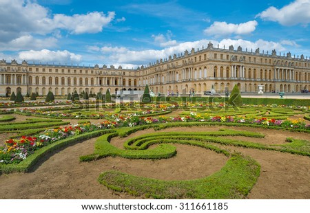 PARIS - JULY 23: view of Versailles Palace on July 23, 2015 in Paris, France. In year 2014 more than 5 million tourists visited this 17th century palace of Versailles.