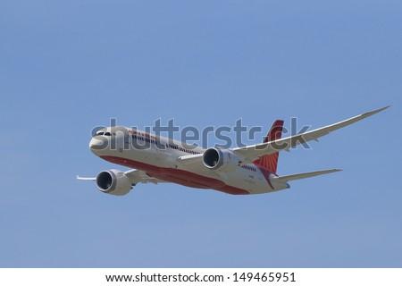 PARIS - JUN 17: Air India Boeing 787 Dreamliner shown at 50th Paris Air Show on June 17, 2013, Paris, France. - stock photo