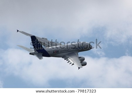 PARIS - JUN 23: Airbus A380 (largest passenger airliner in the world) on 49th Paris Air Show on June 23, 2011 in Paris, France.