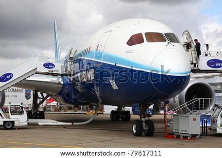 PARIS - JUN 23: Boeing 787 Dreamliner on 49th Paris Air Show on June 23, 2011 in Paris, France.