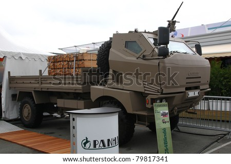 PARIS - JUN 23: Military Truck Panhard TC54 BLINDE on 49th Paris Air Show on June 23, 2011 in Paris, France.