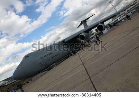 PARIS - JUN 23: U.S. Air Force Strategic Airlifter C-5M Super Galaxy on 49th Paris Air Show on June 23, 2011 in Paris, France.