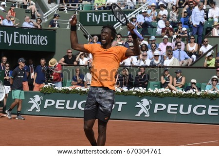 PARIS - JUNE 5:  Gaël Monfils (FRA) competes against Stan Wawrinka (SUI) in round 4 at The French Open on June 5, 2017 in Paris, France.