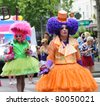 PARIS-JUNE 25:Grotesque costumes.400,000 people took part in the Gay Pride Parade to support gay rights,on June 25, 2011 in Paris, France. - stock photo