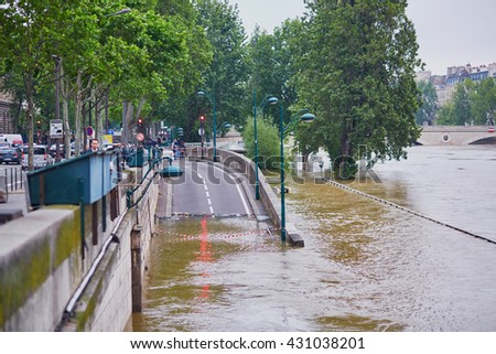 PARIS - JUNE 3: Paris flood with extremely high water on June 3, 2016 in Paris, France