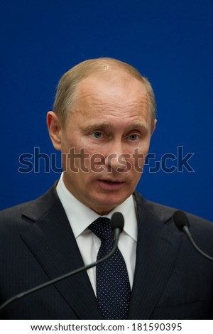 Paris - June 21 : Vladimir Putin during a work visit at Matignon, june 21, 2011 in Paris, France - stock photo