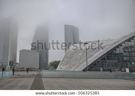 Paris, La Defense October 22, 2016: Business district of Paris. La Defense, aerial view on a misty autumn day