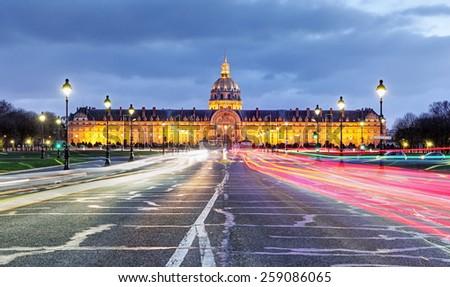 Paris - Les Invalides at night - stock photo