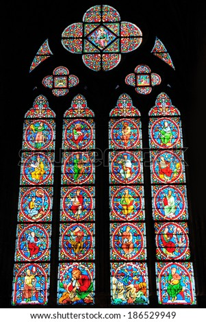 PARIS - MAR 2: Stained glass window of the Cathedrale Notre Dame on March 2, 2014 in Paris, France. - stock photo