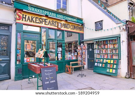 PARIS - MAR 2: The famous Shakespeare and Company bookstore on March 2, 2014 in Paris, France. It was featured in the Richard Linklater film Before Sunset and in the Woody Allen's Midnight in Paris. - stock photo
