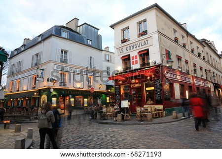 PARIS - MARCH 21: View of typical paris cafe on March 21, 2010 in Paris. Montmartre area is among most popular destinations in Paris, Le Consulat is a typical cafe. - stock photo