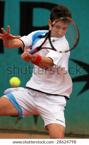 PARIS - MAY 22: Alex Bogdanovic of Great Britain during the match at French Open, Roland Garros on May 22, 2008 in Paris, France. - stock photo