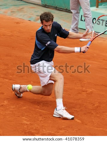 PARIS - MAY 23: Andy MURRAY of Great Britain during the match at French Open, Roland Garros on May 23, 2009 in Paris, France. - stock photo