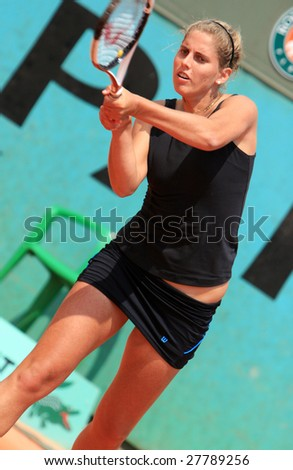PARIS - MAY 23: Argentina's professional tennis player Betina Jozami during her match at French Open, Roland Garros on May 23, 2008 in Paris, France. - stock photo