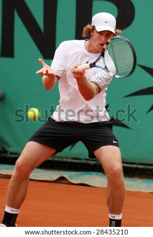 PARIS - MAY 26: Australia's professional tennis player Robert Smeets returns the ball during the match at French Open, Roland Garros, May 26, 2008 in Paris, France. - stock photo