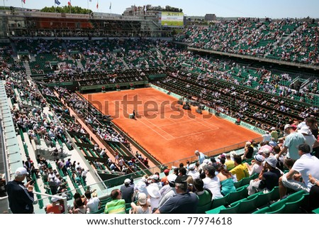 PARIS - MAY 23: Court Philippe Chatrier of the French Open Grand Slam tournament general view during the day matches at Roland Garros on May 23, 2011 in Paris, France. - stock photo