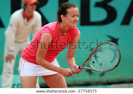 PARIS - MAY 21: Czech professional tennis player HANA SROMOVA during her match at French Open, Roland Garros on May 21, 2008 in Paris, France. - stock photo