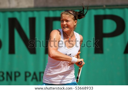 PARIS - MAY 21: Dinara SAFINA of Russia during her practice at French Open, Roland Garros on May 21, 2010 in Paris, France. - stock photo