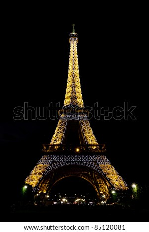 PARIS - MAY 08 : Eiffel tower at night on May 08, 2011 in Paris. Full illumination. The Eiffel tower is the most visited monument of France.