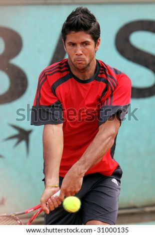 PARIS - MAY 23: Fernando Verdasco of Spain during his practice at French Open, Roland Garros on May 23, 2009 in Paris, France. - stock photo