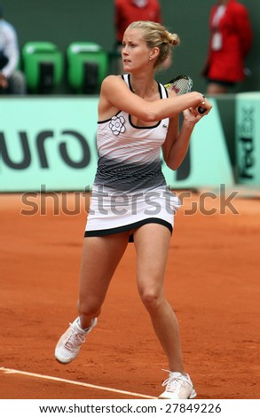 PARIS - MAY 24: France's professional tennis player MATHILDE JOHANSSON during her match at French Open, Roland Garros on May 24, 2008 in Paris, France. - stock photo