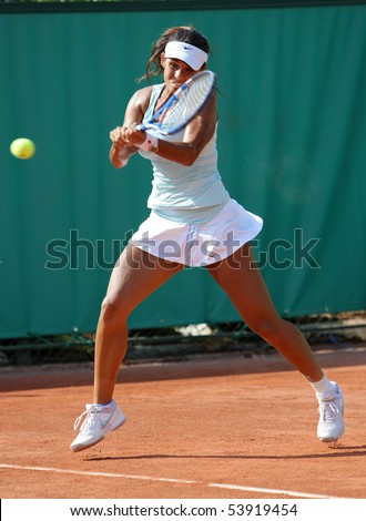 PARIS - MAY 20: Heidi EL TABAKH of Canada in action during the 2nd round qualification match at French Open, Roland Garros on May 20, 2010 in Paris, France. - stock photo