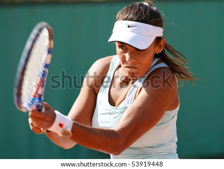 PARIS - MAY 20: Heidi EL TABAKH of Canada plays the 2nd round qualification match at French Open, Roland Garros on May 20, 2010 in Paris, France. - stock photo