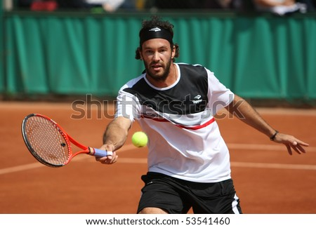 PARIS - MAY 20: Jose Acasusoof Argentina in action at French Open, Roland Garros qualification 2nd round match on May 20, 2010 in Paris, France. - stock photo