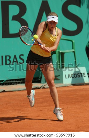 PARIS - MAY 21: Ksenia PERVAK of Russia in action at French Open, Roland Garros qualification 3rd round match on May 21, 2010 in Paris, France. - stock photo