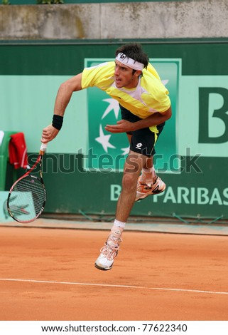 PARIS - MAY 20: Leonardo Mayer of Argentina plays the 3rd round qualification match  at French Open, Roland Garros on May 20, 2011 in Paris, France. - stock photo